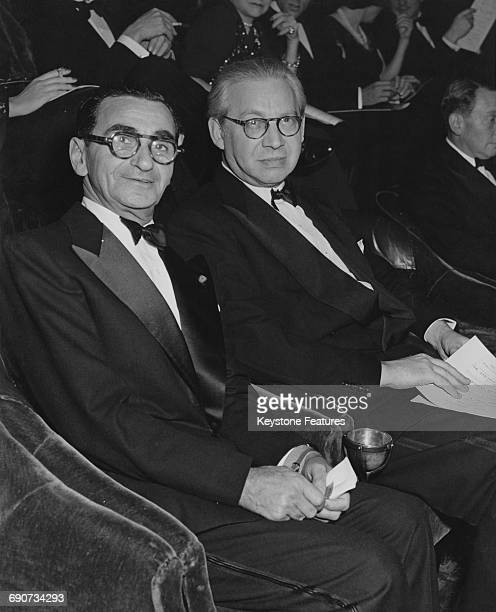 American songwriter and composer Irving Berlin with British producer and director Sir Alexander Korda at the premiere of the Paramount film 'Blue...