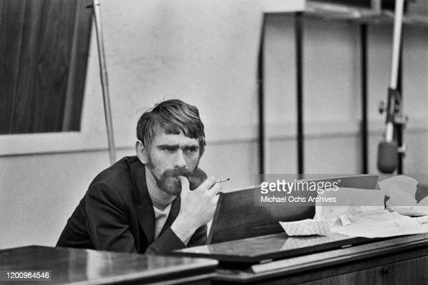 American songwriter and session musician Spooner Oldham during a recording session of Aretha Franklin's studio version of song 'The Weight' which was...
