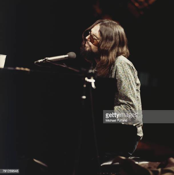 American songwriter Jimmy Webb performing at the piano on the BBC TV show 'The Old Grey Whistle Test' London 28th June 1971