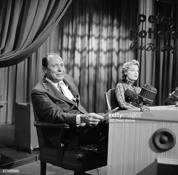 American songwriter Johnny Mercer on 'Juke Box Jury' June Havoc is to the right Image dated April 30 1955