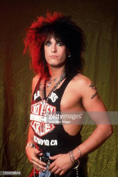 American songwriter musician and cofounder of the hard rock band Mötley Crüe Nikki Sixx poses for a portrait backstage at the Joe Louis Arena during...