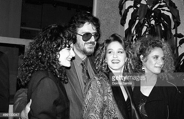 American songwriters Gerry Goffin and Carole King pose with their daughters Louise Goffin and Sherry Goffin Kondor backstage at a Songwriters'...