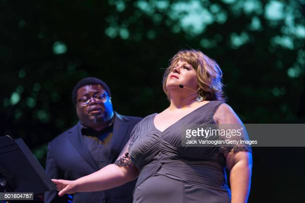 American soprano Amber Wagner and tenor Russell Thomas perform at the sixth annual, season-opening concert in the Metropolitan Opera Summer Recital...