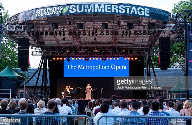 American soprano Amber Wagner performs, with Dan Saunders on piano, at the sixth annual, season-opening concert in the Metropolitan Opera Summer...
