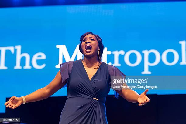 American soprano Angel Blue performs an aria at the eighth annual seasonopening concert in the Metropolitan Opera Summer Recital Series at Central...