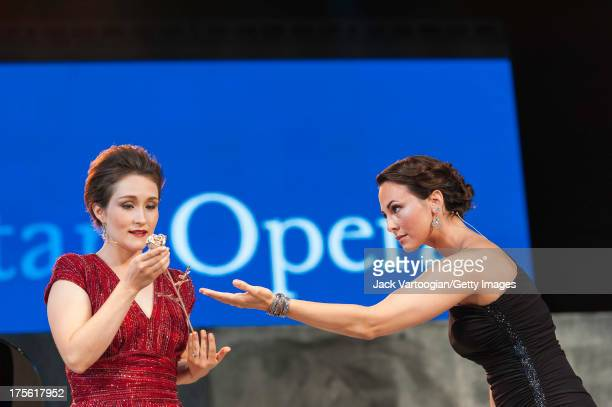 American soprano Erin Morley and mezzo-soprano Isabel Leonard perform an aria from Richard Strauss' 'Der Rosenkavalier' at the fifth annual...