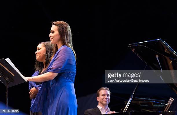 American soprano Janai Brugger and mezzosoprano Isabel Leonard perform an aria during the seventh annual seasonopening concert in the Metropolitan...