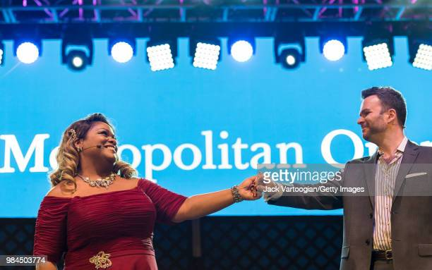 American soprano Latonia Moore and Canadian baritone Joshua Hopkins perform at the tenth annual season-opening concert in the Metropolitan Opera...
