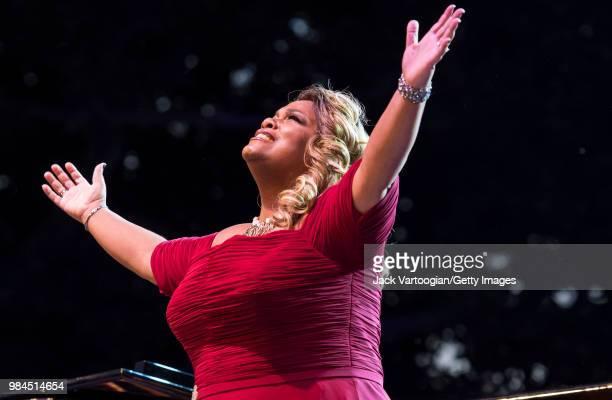 American soprano Latonia Moore performs at the tenth annual seasonopening concert in the Metropolitan Opera Summer Recital Series at Central Park...
