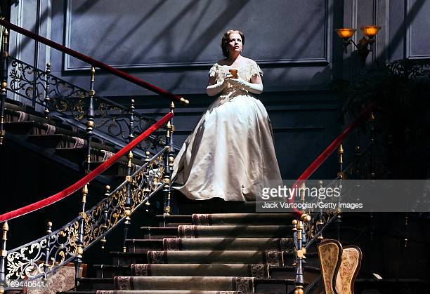 American soprano Renee Fleming performs during the final dress rehersal of the Metropolitan Opera/Otto Schenk season premiere production of...