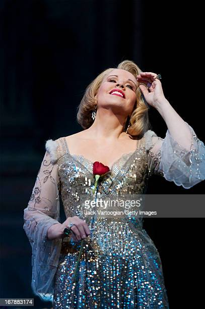American soprano Renee Fleming performs during the final dress rehearsal before the season premiere of the Metropolitan Opera/John Cox production of...