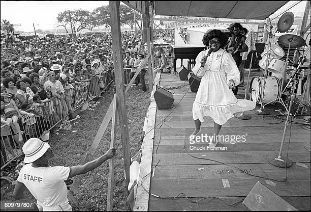 American Soul and Blues musician Irma Thomas performs onstage during the New Orleans Jazz Heritage Festival at the Fair Grounds Race Course New...