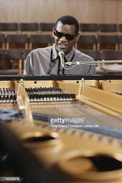 American soul and blues musician Ray Charles at the piano, 1964.