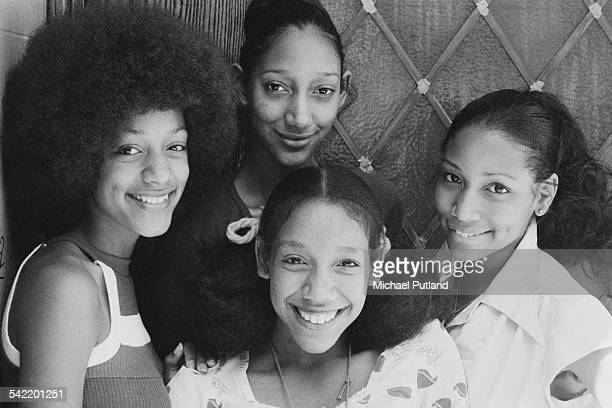 American soul and disco group Sister Sledge 4th July 1975 Clockwise from left Joni Sledge Debbie Sledge Kim Sledge and Kathy Sledge