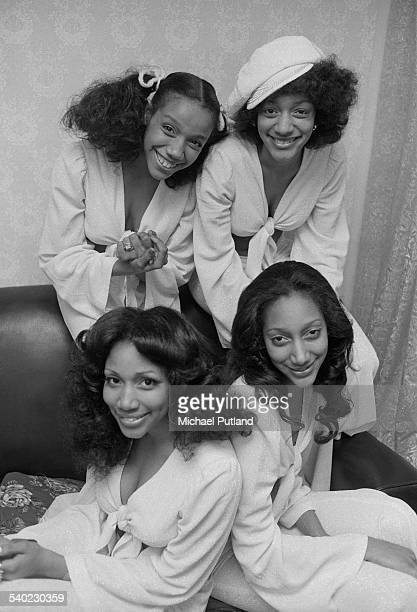 American soul and disco group Sister Sledge 7th April 1975Clockwise from bottom left Kim Sledge Kathy Sledge Joni Sledge and Debbie Sledge