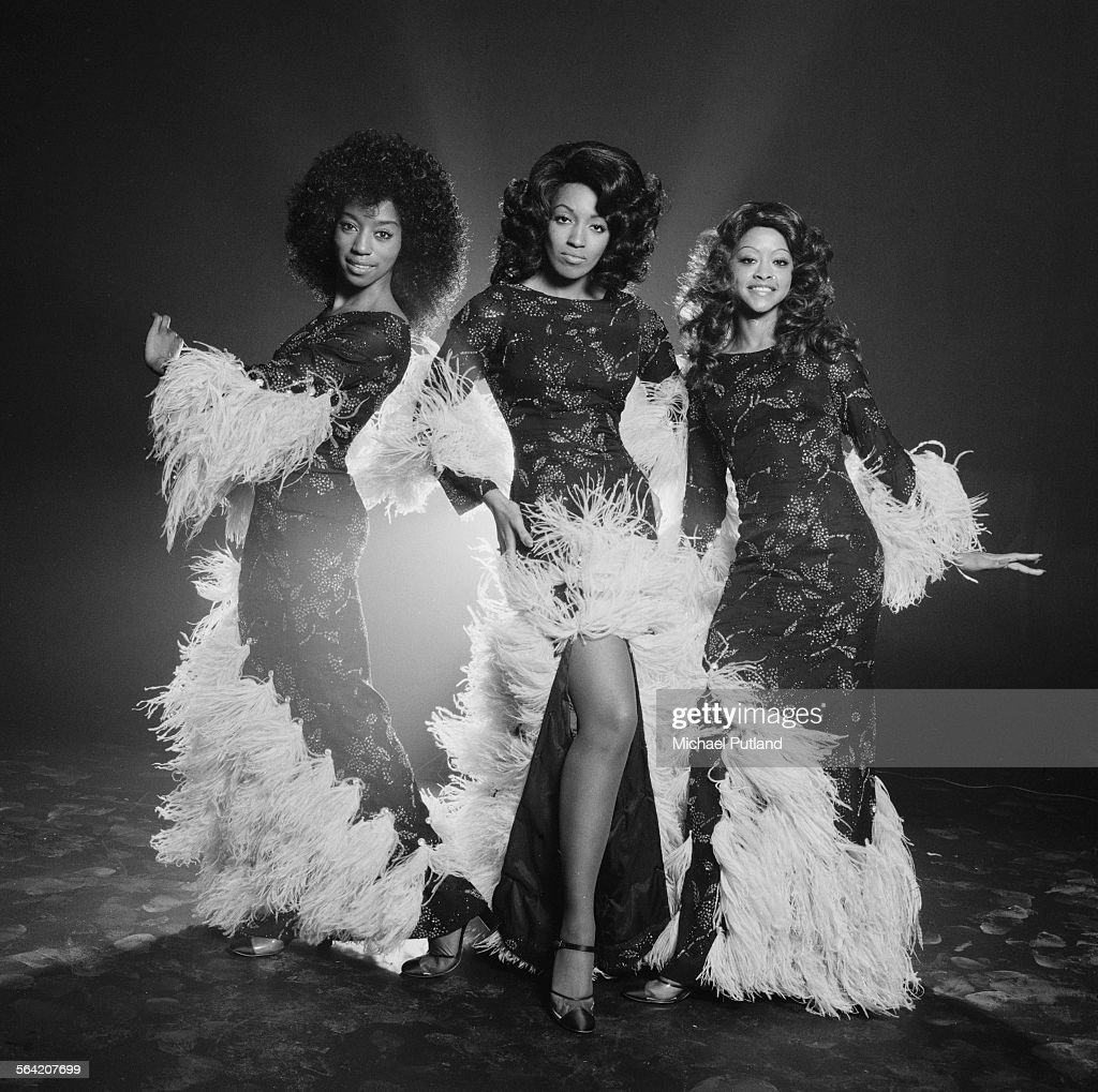 American soul and disco vocal group, The Three Degrees, London, 20th April 1976. Left to right: Fayette Pinkney (1948 - 2009), Sheila Ferguson and Valerie Holiday.