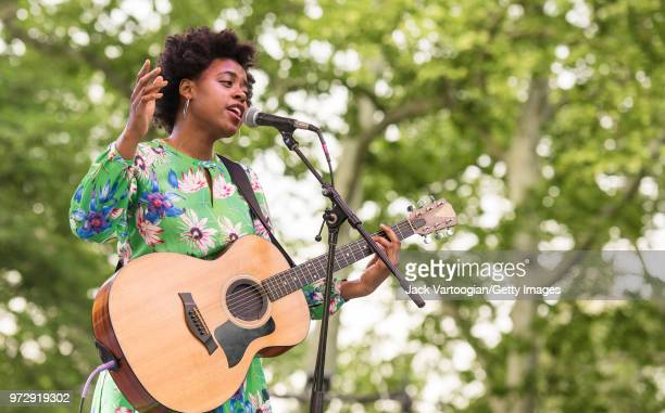 American Soul and Folk musician Victory Boyd plays guitar as she performs with her band at the Blue Note Jazz Festival at Central Park SummerStage...