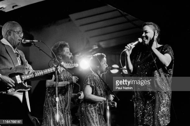 American Soul and Gospel group Staples Singers perform on a riverboat during the New Orleans Jazz and Heritage Festival New Orleans Louisiana April...