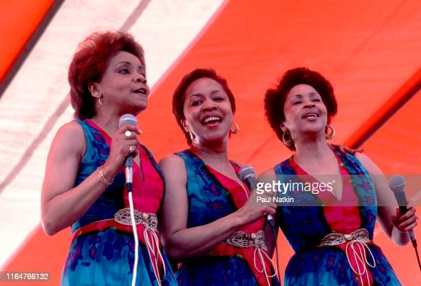 American Soul and Gospel group the Staples Singers perform onstage at the New Orleans Jazz and Heritage Festival New Orleans Louisiana April 20 1985...