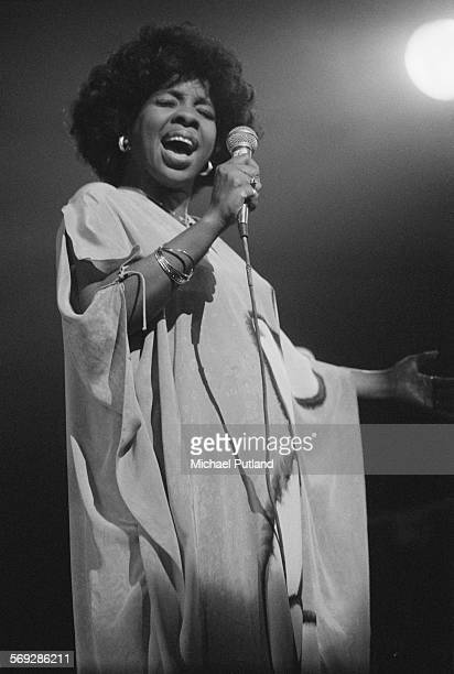 American soul and RB singer Gladys Knight performing on stage 28th April 1976