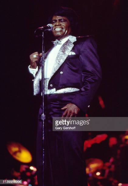 American Soul and R&B singer James Brown performs on stage at Radio City Music Hall, New York, New York, January 29, 1986.