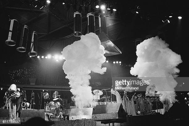 American soul funk and disco group Earth Wind Fire performing on stage USA 3rd February 1978