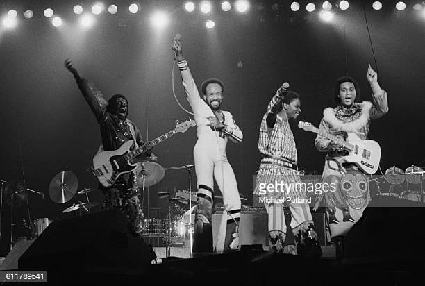 American soul funk and disco group Earth Wind Fire performing on stage USA 3rd February 1978 Left to right Verdine White Maurice White Philip Bailey...