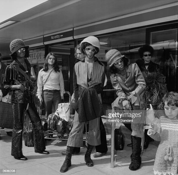 American soul funk group Sly And The Family Stone with Sly Stone sitting front right