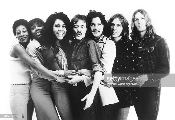 American soul group The Blackberries pose for a portrait with the British rock group Humble pie LR Venetta Fields Billie Barnum Clydie King Steve...