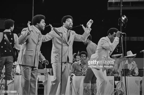 American soul group The Isley Brothers performing live at the first Soul Brothers Summer Music Festival, held at Yankee Stadium in The Bronx borough...
