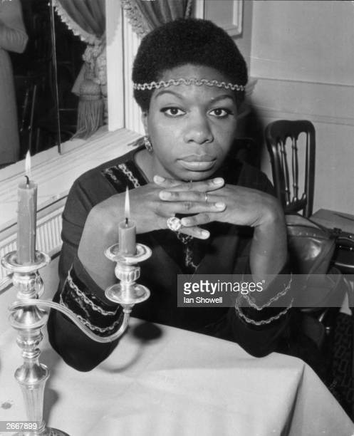 American soul jazz and blues vocalist Nina Simone relaxes at the Hanover Grand during a reception held for her in London She is here on a promotional...