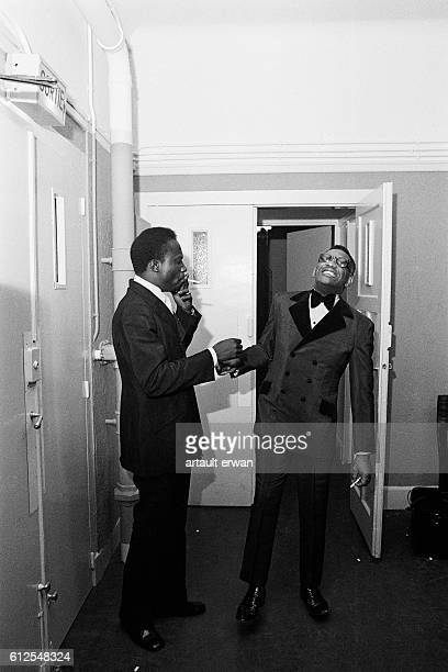 American soul music singer pianist and composer Ray Charles in the backstage of the Salle Pleyel concert hall in Paris