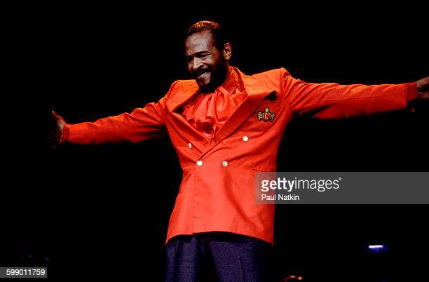 American Soul musician Marvin Gaye performs onstage at the Holiday Star Theater Merrillville Indiana June 10 1983