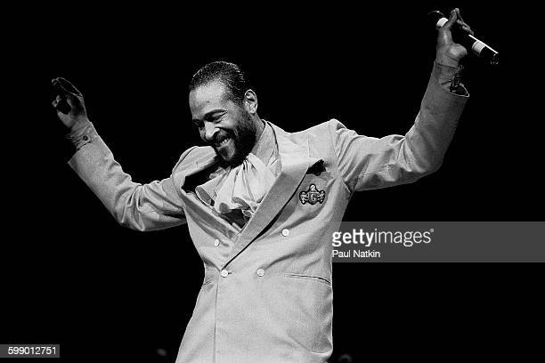 American Soul musician Marvin Gaye performs onstage at the Holiday Star Theater, Merrillville, Indiana, June 10, 1983.