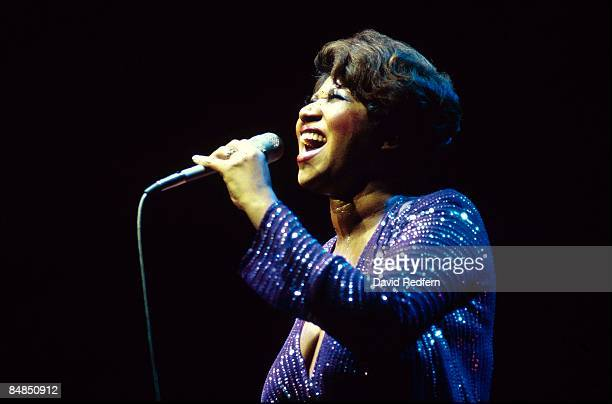 American soul singer Aretha Franklin performs live on stage at the New Victoria Theatre in London in 1980