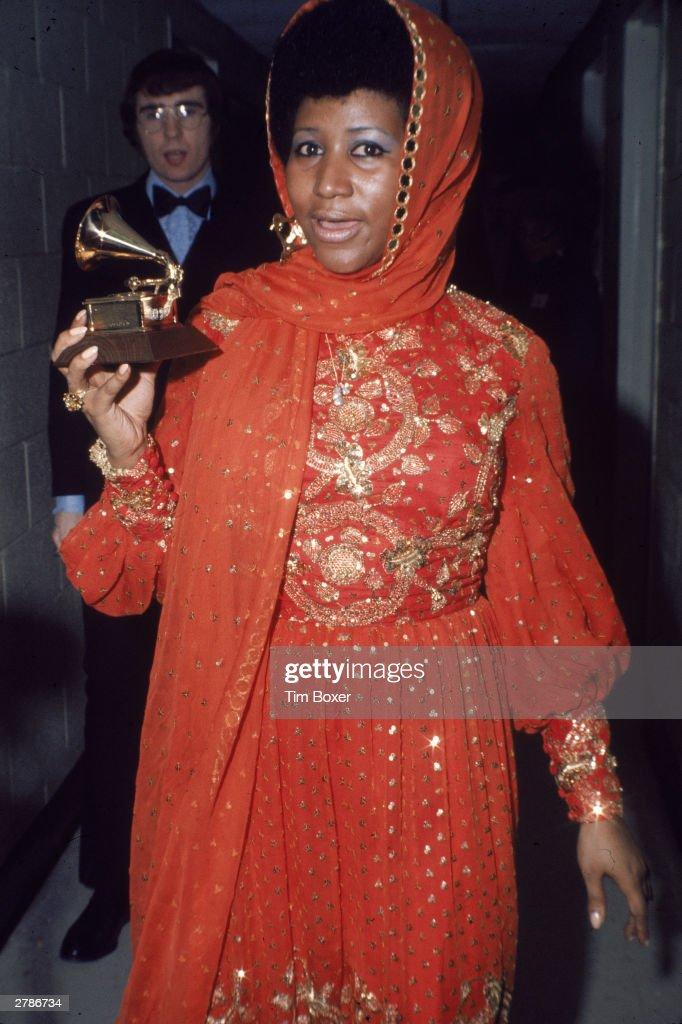 Aretha Franklin With Her Grammy Award : News Photo