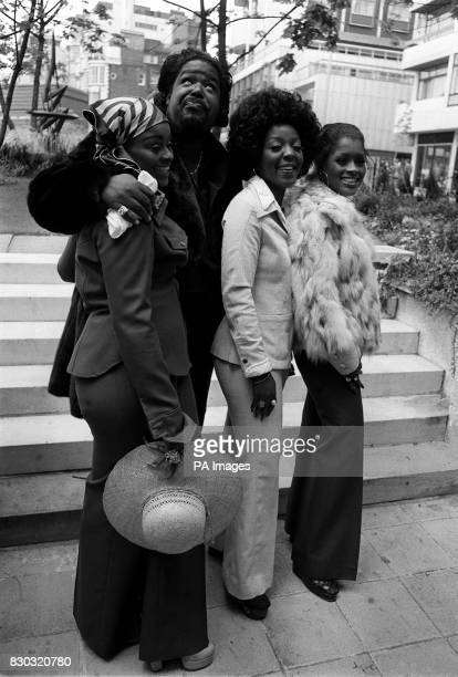 American soul singer Barry White and his wife Glodean of the Love Unlimited singing group with two members of that band during a photocall in London...