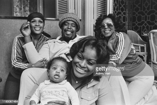 American soul singer Barry White with his backing group Love Unlimited whilst in London for a tour UK 15th March 1977 they are Glodean White née...