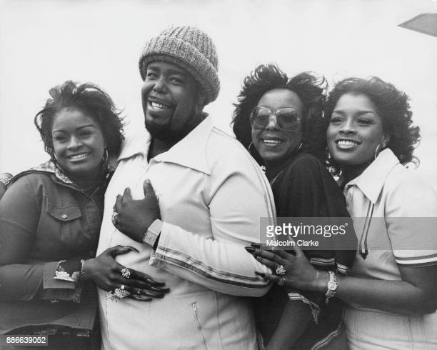 American soul singer Barry White with his backing group Love Unlimited whilst in London for a tour 15th March 1977 From left to right Glodean White...