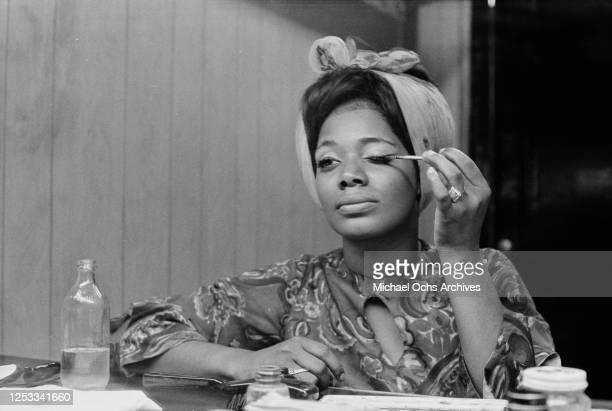 American soul singer Carla Thomas in her dressing room 26th September 1968