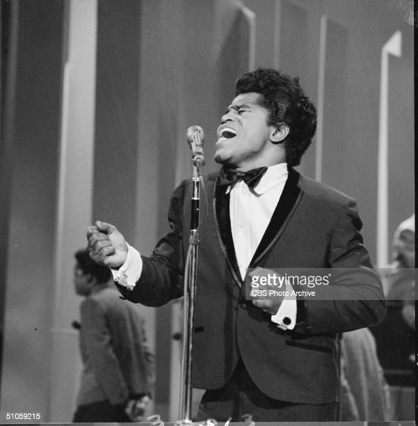 American soul singer James Brown sings on the Ed Sullivan Show, New York, May 1, 1966.