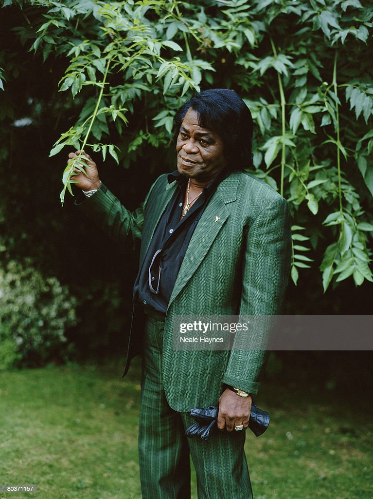 American soul singer James Brown wearing a green striped suit in a garden, 4th October 2004.