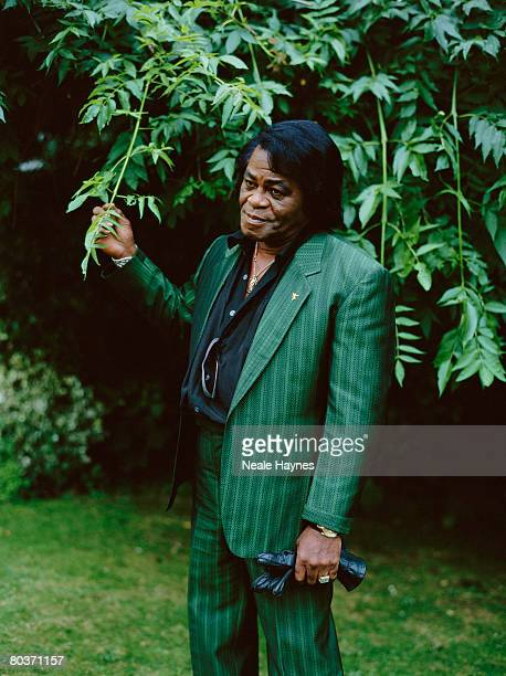 American soul singer James Brown wearing a green striped suit in a garden 4th October 2004