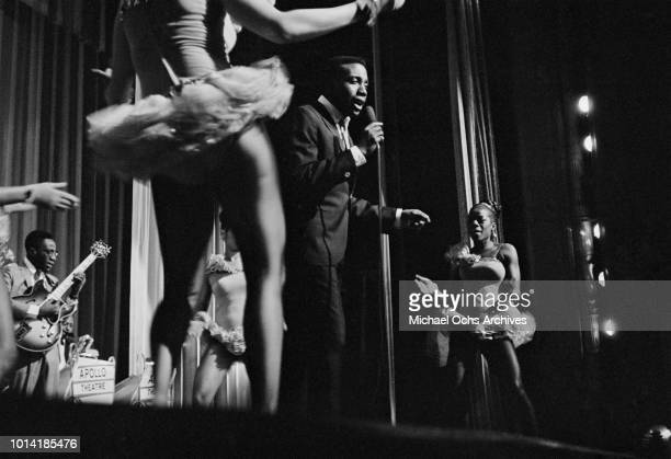 American soul singer Jerry Butler performs with Betty Everett and The Impressions at the Apollo Theatre New York City circa 1965