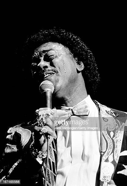 American soul singer Johnnie Taylor performs during the Benson Hedges Blues Festival at the Beacon Theater New York New York October 18 1991