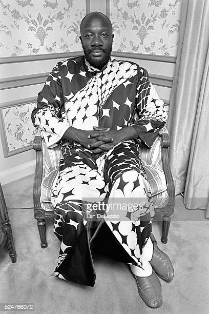 American soul singer songwriter actor and producer Isaac Hayes in his room at the WaldorfAstoria Hotel in New York City