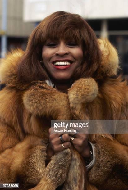 American soul singer Tina Turner in a fur coat circa 1975