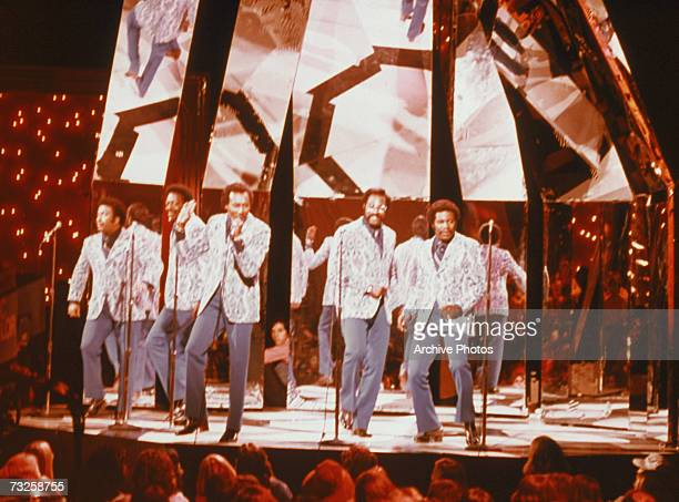 American soul vocal group The Spinners perform on the NBC TV show The Midnight Special circa 1975 Left to right Billy Henderson Henry Fambrough...