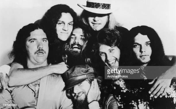 American southern rock band Lynyrd Skynyrd circa 1976 Left to right Billy Powell Allen Collins Artimus Pyle Leon Wilkeson Ronnie Van Zant Steve...