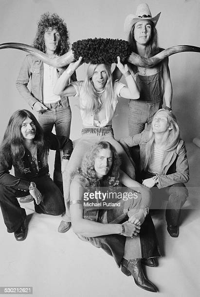 American Southern rock group Black Oak Arkansas 23rd September 1974 Singer Jim 'Dandy' Mangrum is at centre holding a large pair of bufalo horns The...